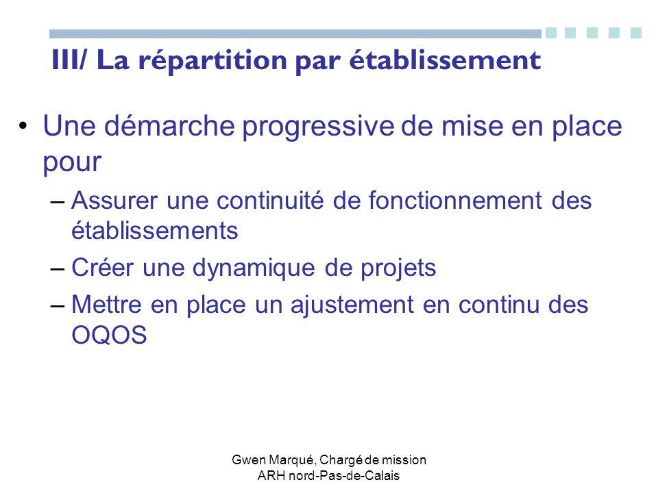 Gwen Marqué, Chargé de mission ARH nord-Pas-de-Calais III/ La répartition par établissement Une démarche progressive de mise en place pour –Assurer un