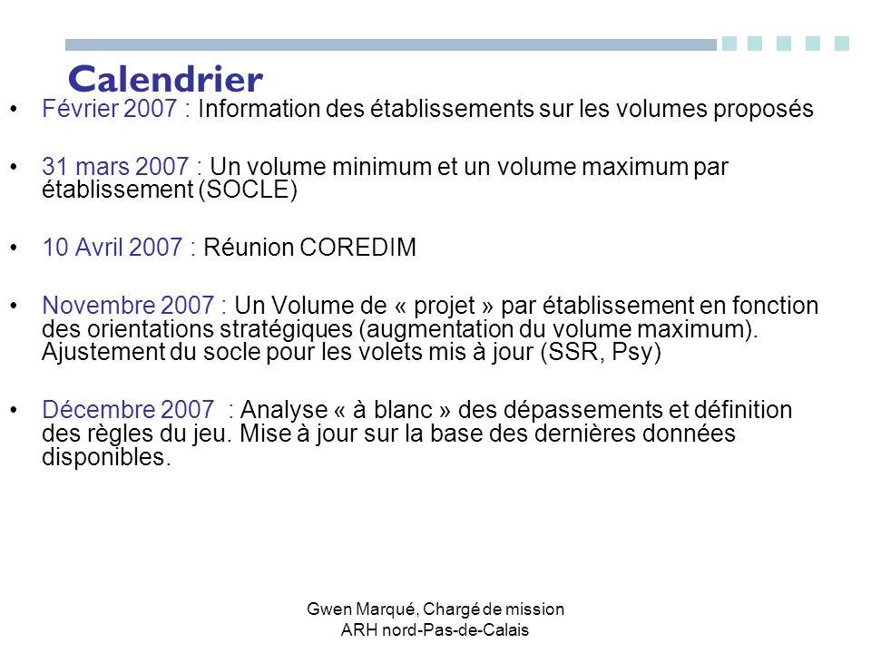 Calendrier Février 2007 : Information des établissements sur les volumes proposés 31 mars 2007 : Un volume minimum et un volume maximum par établissem