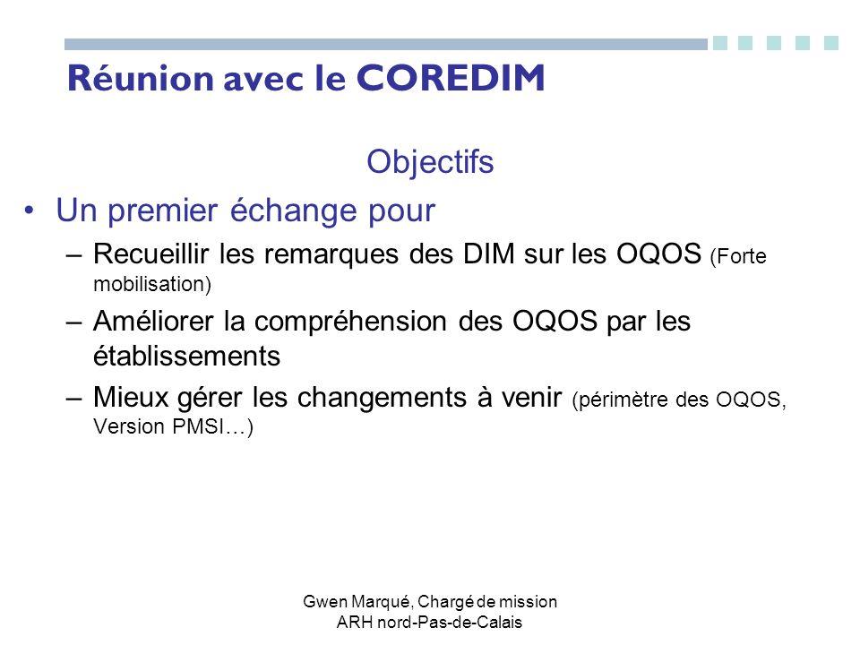 Gwen Marqué, Chargé de mission ARH nord-Pas-de-Calais Réunion avec le COREDIM Objectifs Un premier échange pour –Recueillir les remarques des DIM sur