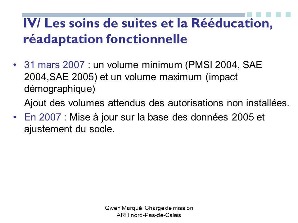 Gwen Marqué, Chargé de mission ARH nord-Pas-de-Calais IV/ Les soins de suites et la Rééducation, réadaptation fonctionnelle 31 mars 2007 : un volume m