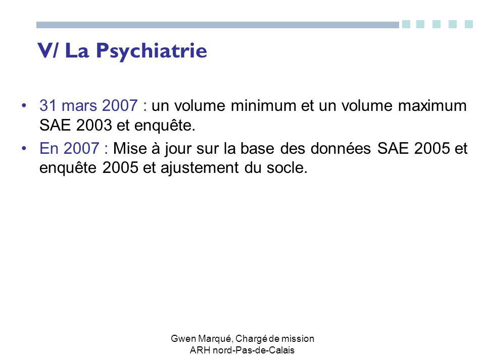 Gwen Marqué, Chargé de mission ARH nord-Pas-de-Calais V/ La Psychiatrie 31 mars 2007 : un volume minimum et un volume maximum SAE 2003 et enquête. En