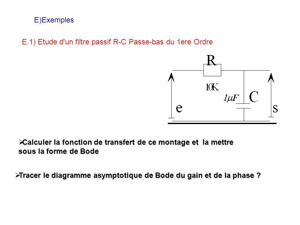 E)Exemples E.1) Etude d un filtre passif R-C Passe-bas du 1ere Ordre Calculer la fonction de transfert de ce montage et la mettre sous la forme de Bode Calculer la fonction de transfert de ce montage et la mettre sous la forme de Bode Tracer le diagramme asymptotique de Bode du gain et de la phase .