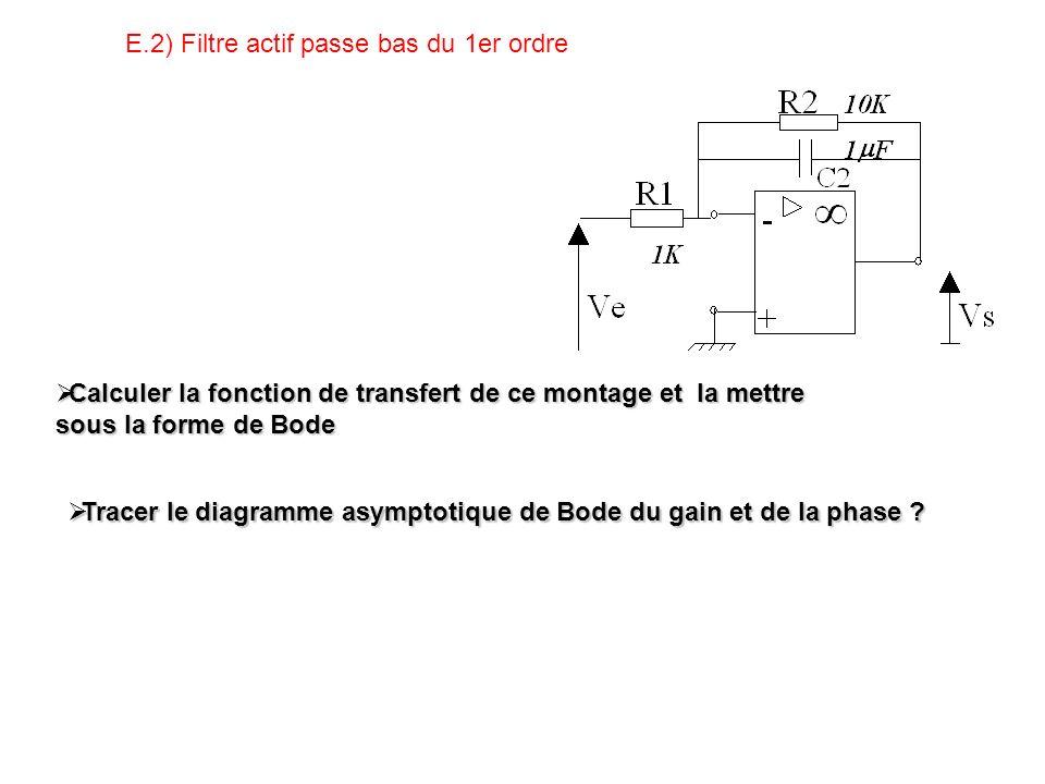 E.2) Filtre actif passe bas du 1er ordre Calculer la fonction de transfert de ce montage et la mettre sous la forme de Bode Calculer la fonction de transfert de ce montage et la mettre sous la forme de Bode Tracer le diagramme asymptotique de Bode du gain et de la phase .