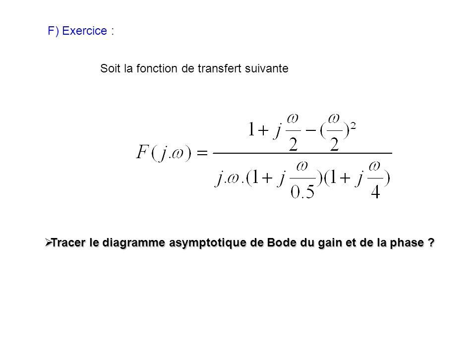 F) Exercice : Soit la fonction de transfert suivante Tracer le diagramme asymptotique de Bode du gain et de la phase ? Tracer le diagramme asymptotiqu