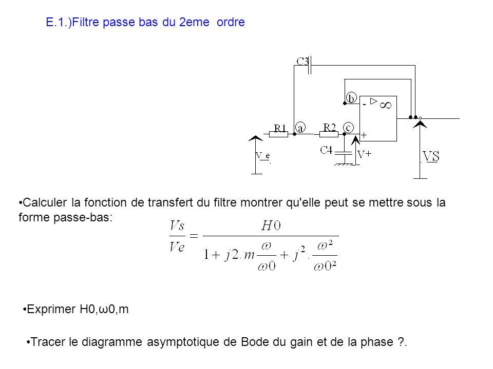E.1.)Filtre passe bas du 2eme ordre Calculer la fonction de transfert du filtre montrer qu elle peut se mettre sous la forme passe-bas: Exprimer H0,ω0,m Tracer le diagramme asymptotique de Bode du gain et de la phase ?.