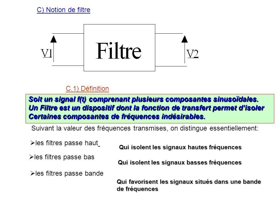 C) Notion de filtre C.1) Définition Soit un signal f(t) comprenant plusieurs composantes sinusoïdales. Un Filtre est un dispositif dont la fonction de