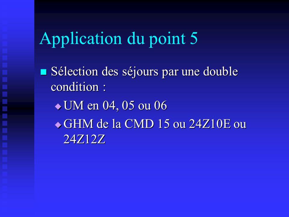 Application du point 5 Sélection des séjours par une double condition : Sélection des séjours par une double condition : UM en 04, 05 ou 06 UM en 04,