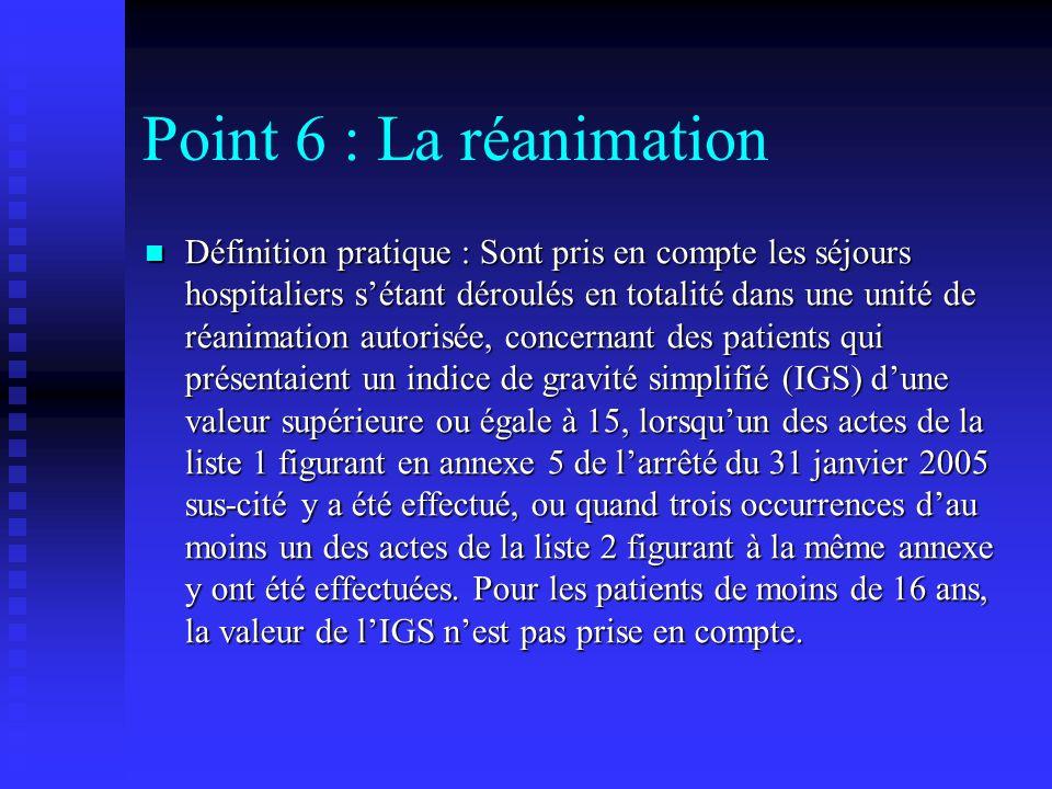 Point 6 : La réanimation Définition pratique : Sont pris en compte les séjours hospitaliers sétant déroulés en totalité dans une unité de réanimation