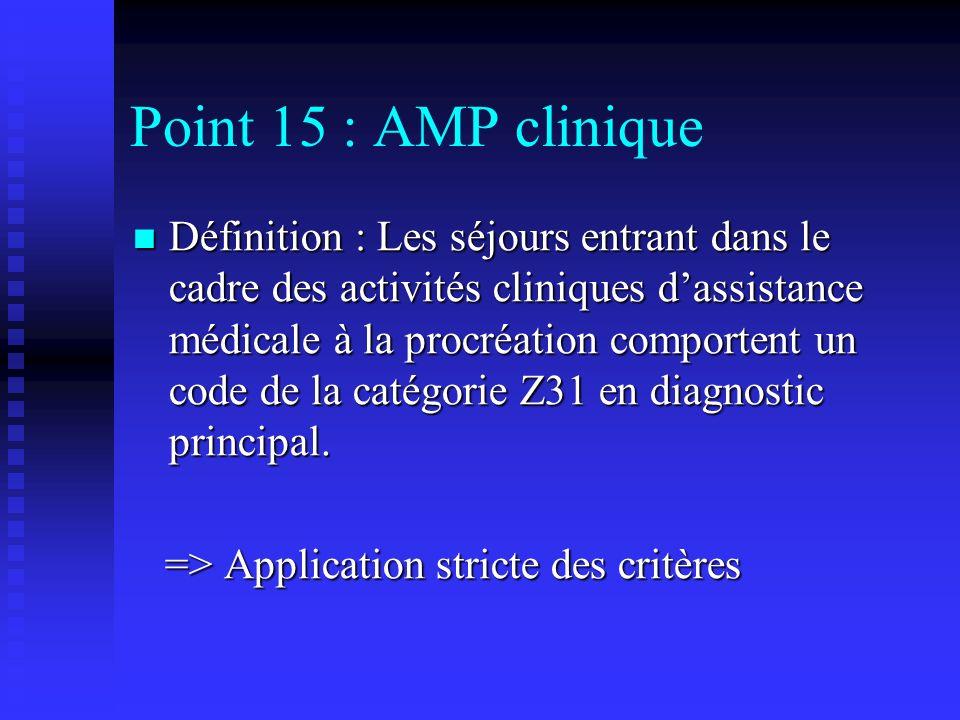Point 15 : AMP clinique Définition : Les séjours entrant dans le cadre des activités cliniques dassistance médicale à la procréation comportent un cod