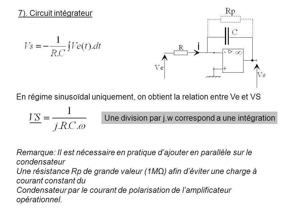 7). Circuit intégrateur En régime sinusoïdal uniquement, on obtient la relation entre Ve et VS Une division par j.w correspond a une intégration Remar