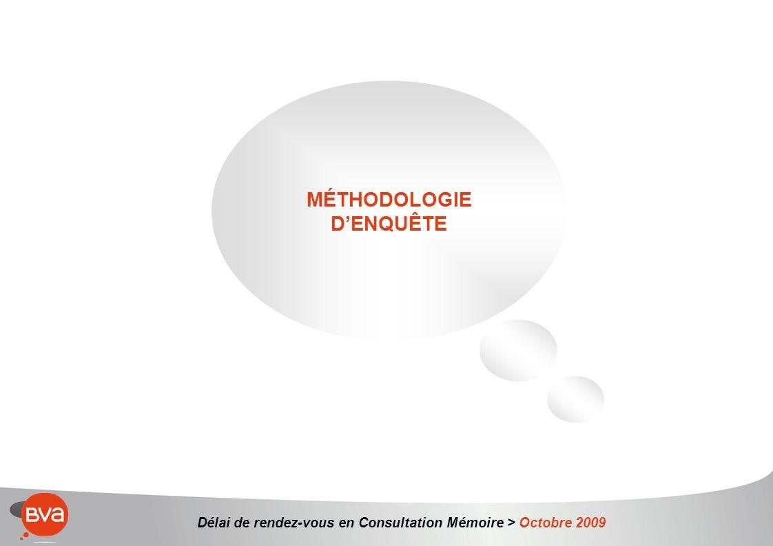 Délai de rendez-vous en Consultation Mémoire > Octobre 2009 MÉTHODOLOGIE DENQUÊTE