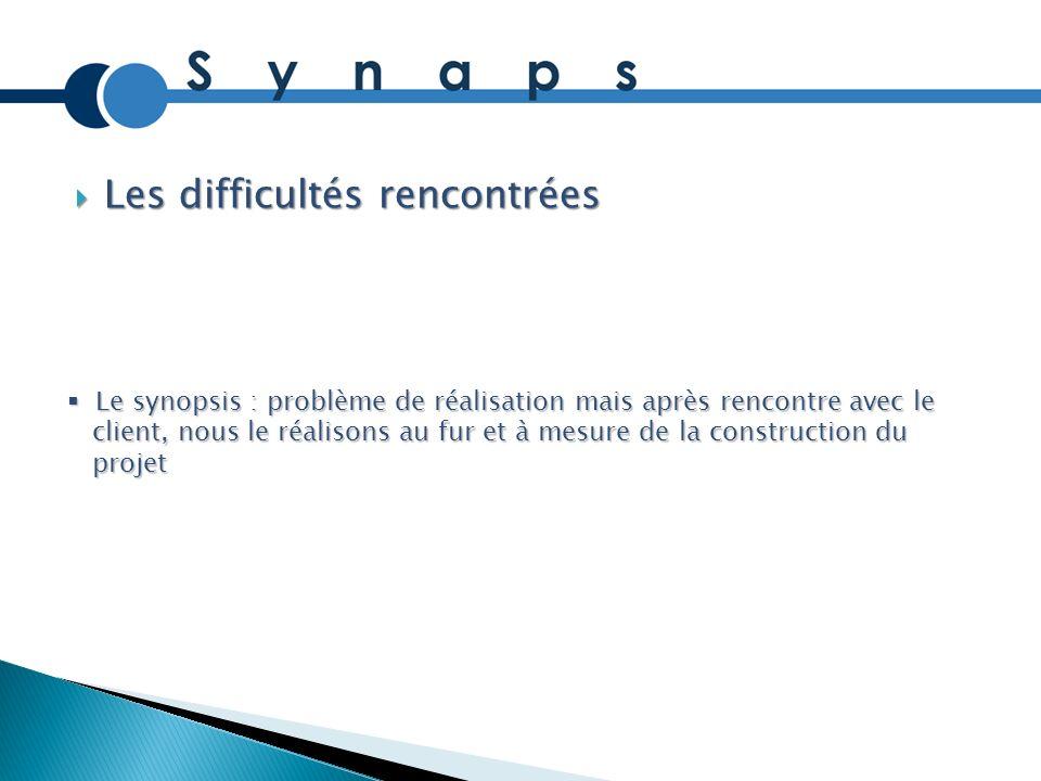 Les difficultés rencontrées Les difficultés rencontrées Le synopsis : problème de réalisation mais après rencontre avec le Le synopsis : problème de r
