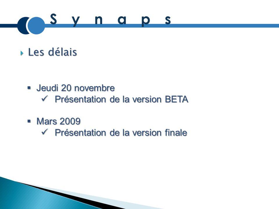 Les délais Les délais Jeudi 20 novembre Jeudi 20 novembre Présentation de la version BETA Présentation de la version BETA Mars 2009 Mars 2009 Présenta