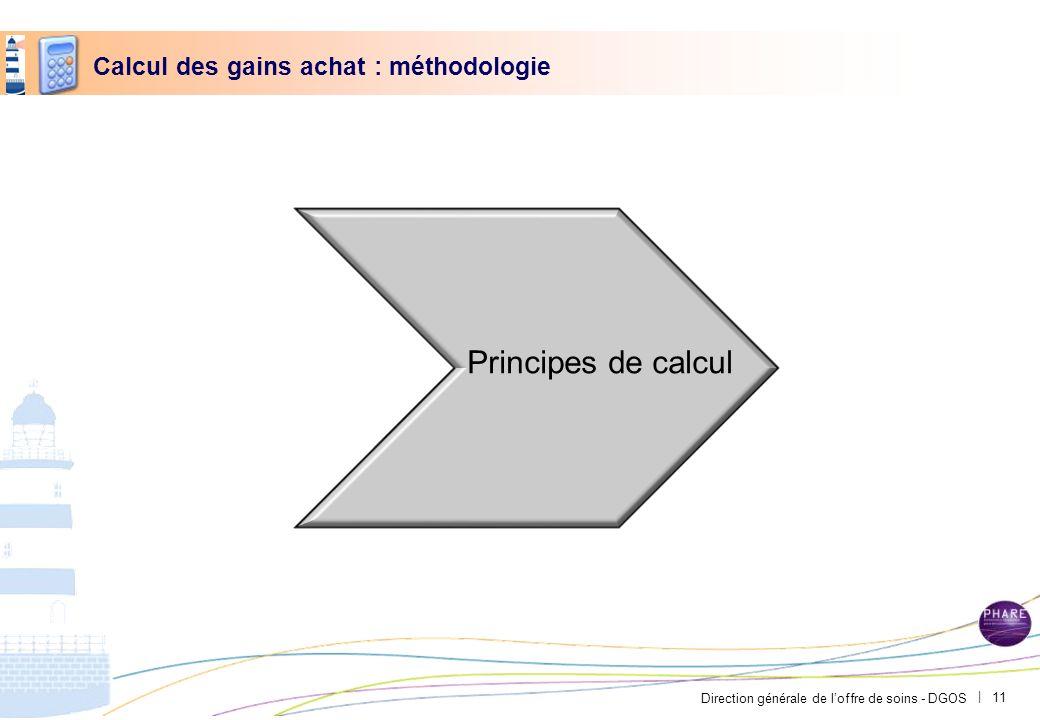 Direction générale de loffre de soins - DGOS | Calcul des gains achat : méthodologie Principes de calcul 11