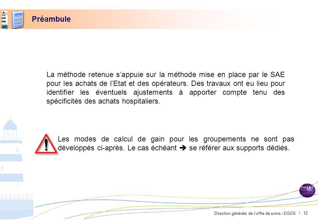 Direction générale de loffre de soins - DGOS | Préambule La méthode retenue sappuie sur la méthode mise en place par le SAE pour les achats de lEtat e