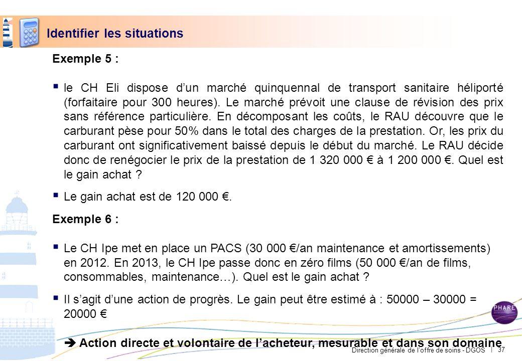 Direction générale de loffre de soins - DGOS | Exemple 5 : le CH Eli dispose dun marché quinquennal de transport sanitaire héliporté (forfaitaire pour