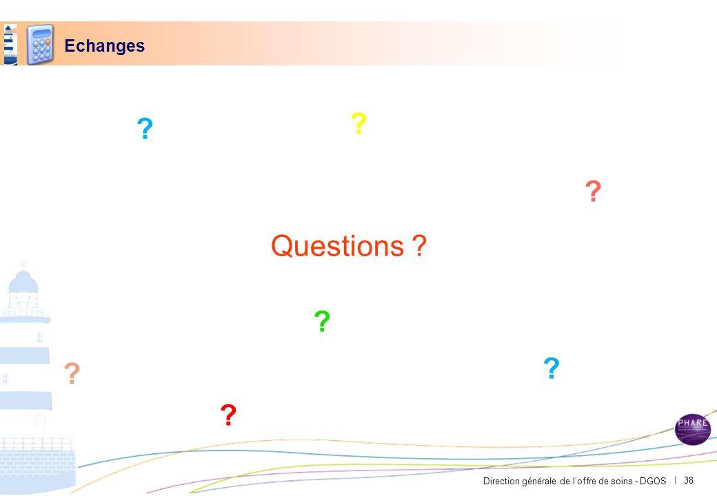 Direction générale de loffre de soins - DGOS | Echanges Questions ? ? ? ? ? ? ? ? 38