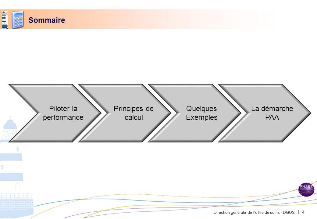 Direction générale de loffre de soins - DGOS | Sommaire Piloter la performance Principes de calcul Quelques Exemples La démarche PAA 4