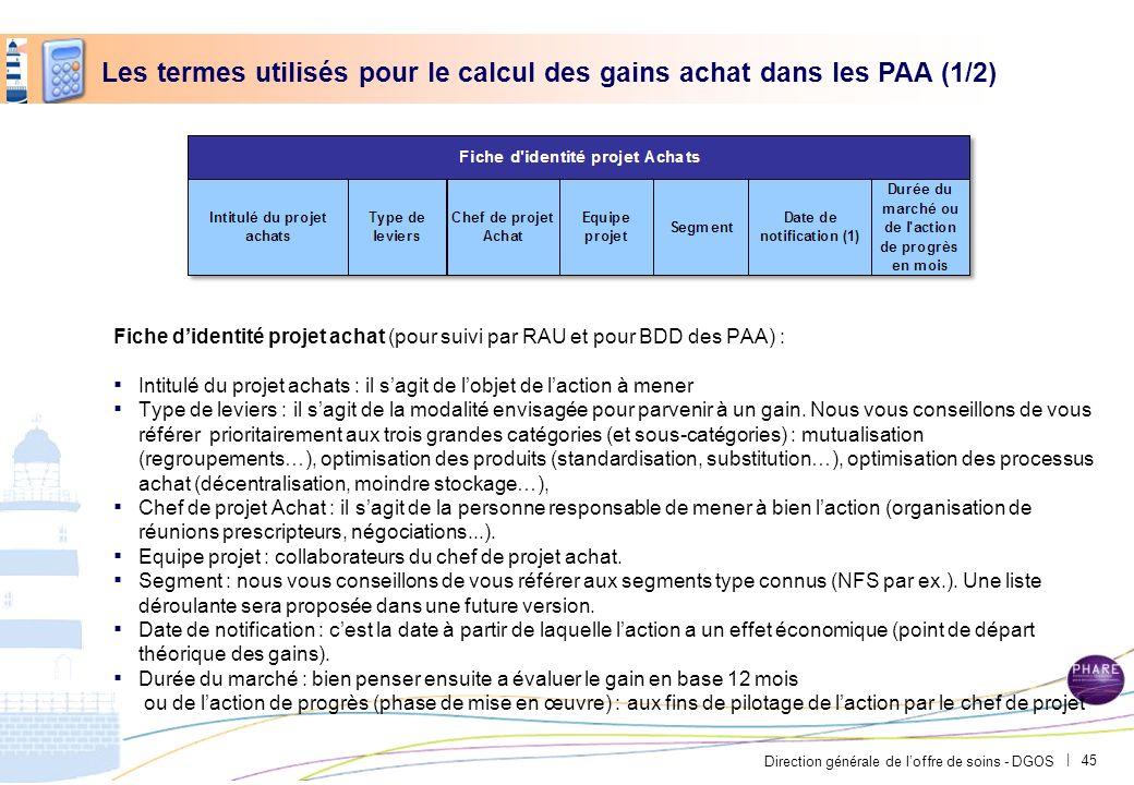 Direction générale de loffre de soins - DGOS | Fiche didentité projet achat (pour suivi par RAU et pour BDD des PAA) : Intitulé du projet achats : il