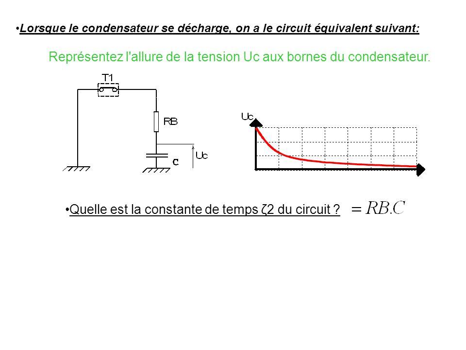 Représentez l'allure de la tension Uc aux bornes du condensateur. On supposera qu'à t=0 la tension Uc aux bornes de C=0 Lorsque le condensateur se cha