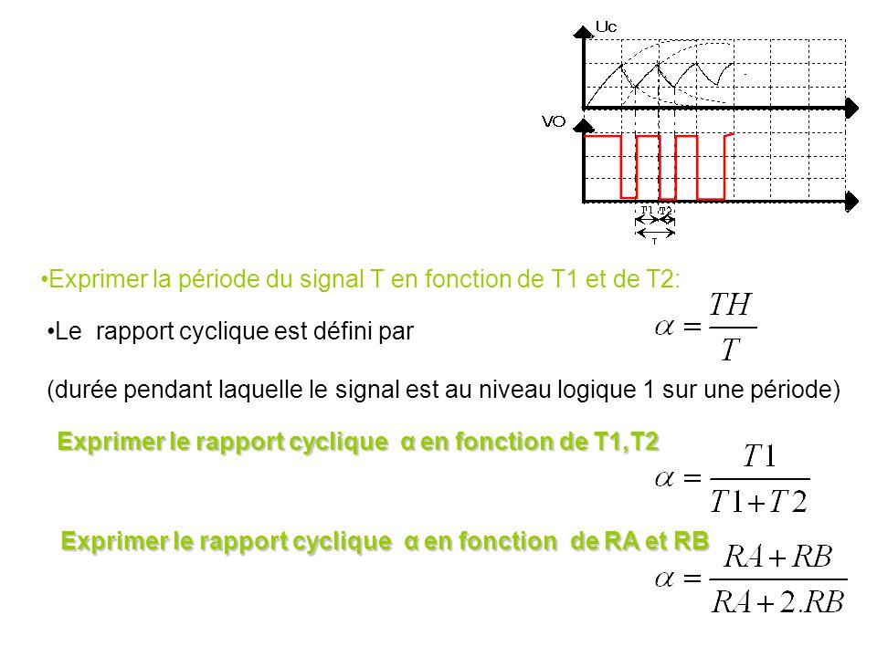 Le constructeur donne : Durée pendant laquelle le signal est au niveau logique 0 Durée pendant laquelle le signal est au niveau logique 1 Fréquence du
