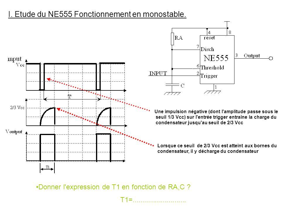 H) Exercices On désire à l'aide d'un NE555 générer un signal astable de fréquence 1KHZ et de rapport cyclique 0.9 Déterminez la valeur des différents