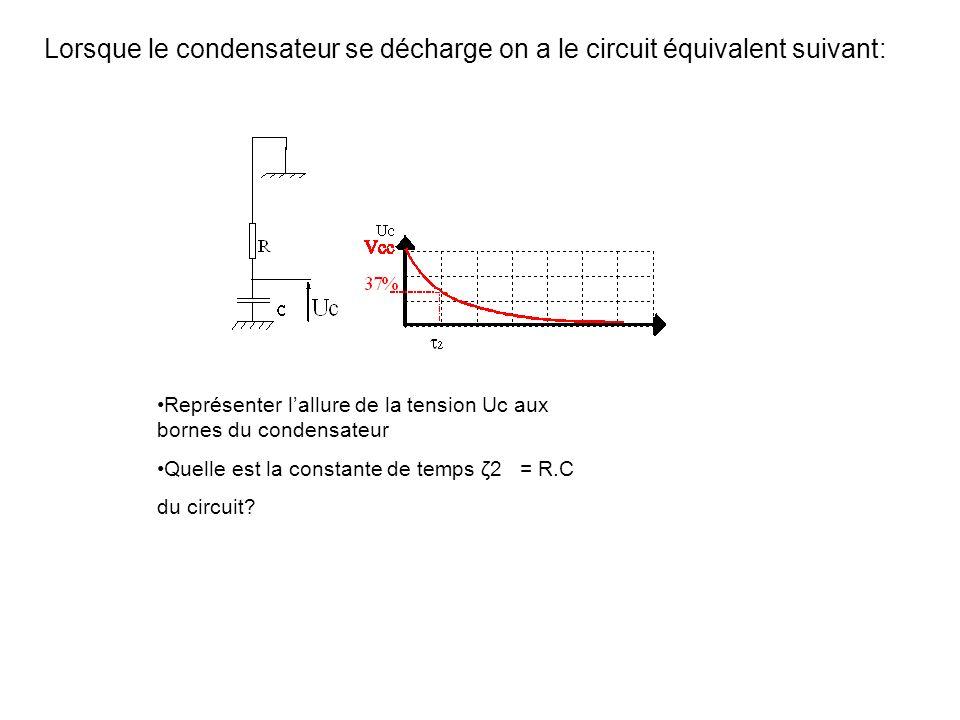 B.3) Allure des signaux aux bornes dun condensateur Lorsque le condensateur se charge, on a le circuit suivant: Représenter lallure de la tension Uc a
