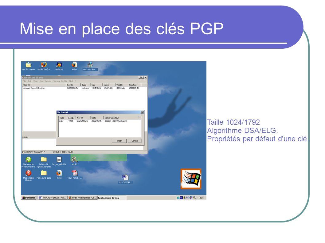 Taille 1024/1792 Algorithme DSA/ELG. Propriétés par défaut d une clé. Mise en place des clés PGP