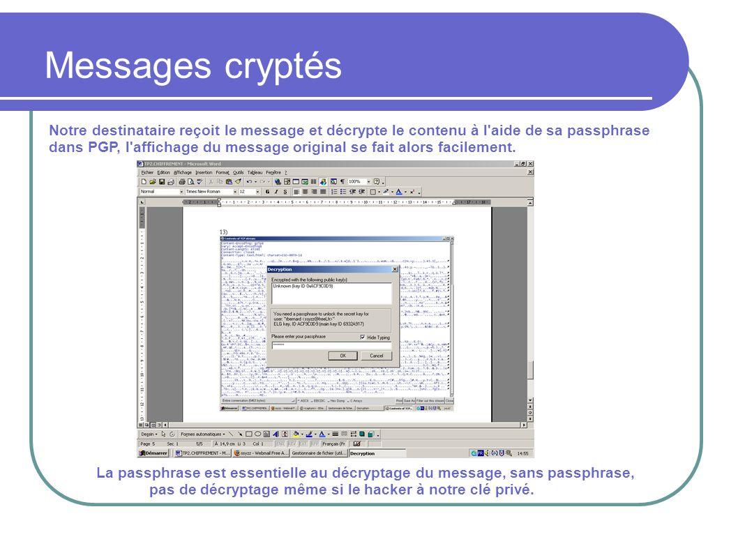 Notre destinataire reçoit le message et décrypte le contenu à l aide de sa passphrase dans PGP, l affichage du message original se fait alors facilement.