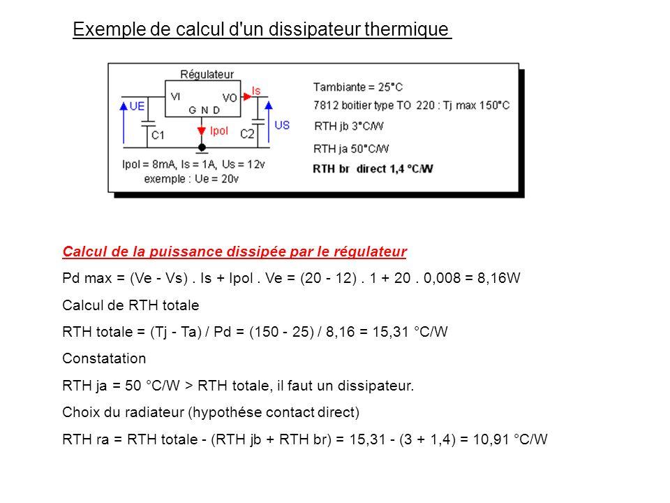 C.2) Choix du radiateur Démonstration du besoin d'un radiateur Calculer RTH totale = (Tj max - Ta) / Pd max, plus RTH totale est petit, mieux on peut