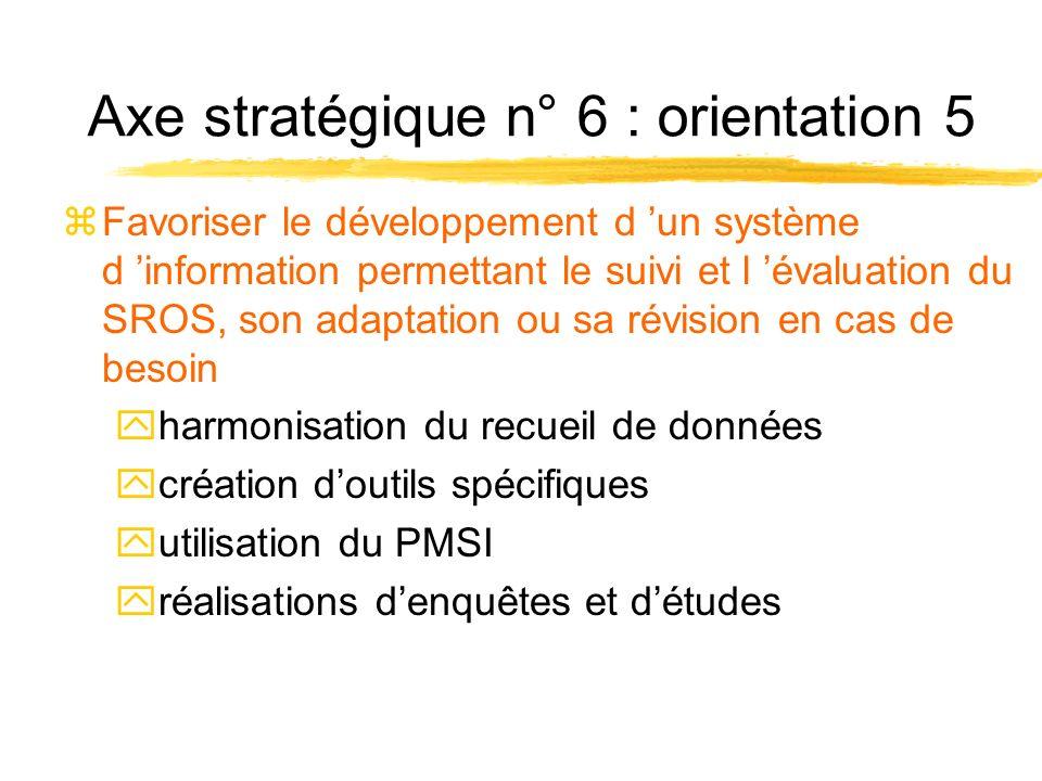 Axe stratégique n° 6 : orientation 5 zFavoriser le développement d un système d information permettant le suivi et l évaluation du SROS, son adaptation ou sa révision en cas de besoin yharmonisation du recueil de données ycréation doutils spécifiques yutilisation du PMSI yréalisations denquêtes et détudes