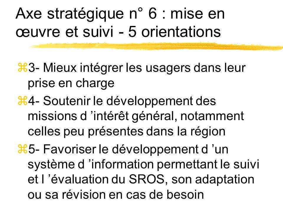 Axe stratégique n° 6 : mise en œuvre et suivi - 5 orientations z3- Mieux intégrer les usagers dans leur prise en charge z4- Soutenir le développement des missions d intérêt général, notamment celles peu présentes dans la région z5- Favoriser le développement d un système d information permettant le suivi et l évaluation du SROS, son adaptation ou sa révision en cas de besoin