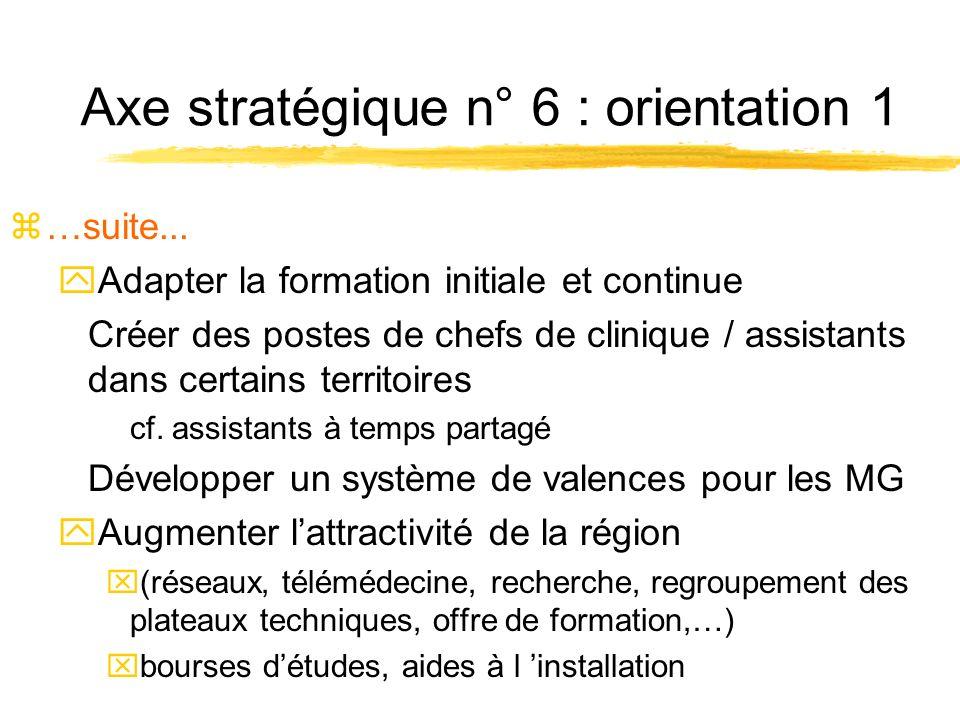 Axe stratégique n° 6 : orientation 1 z…suite...