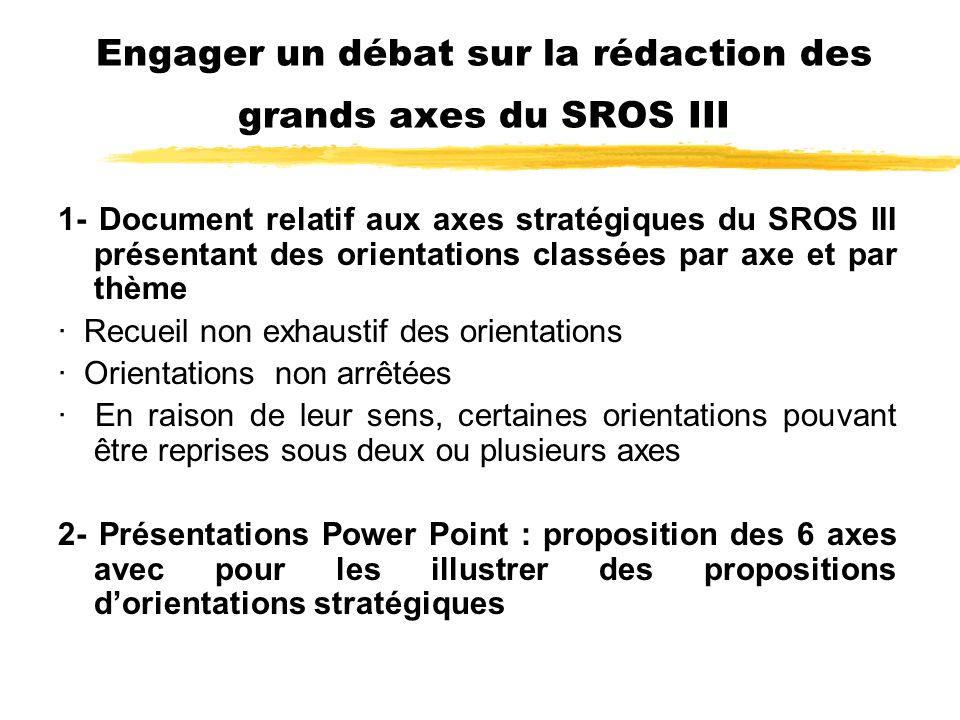 Engager un débat sur la rédaction des grands axes du SROS III 1- Document relatif aux axes stratégiques du SROS III présentant des orientations classées par axe et par thème · Recueil non exhaustif des orientations · Orientations non arrêtées · En raison de leur sens, certaines orientations pouvant être reprises sous deux ou plusieurs axes 2- Présentations Power Point : proposition des 6 axes avec pour les illustrer des propositions dorientations stratégiques