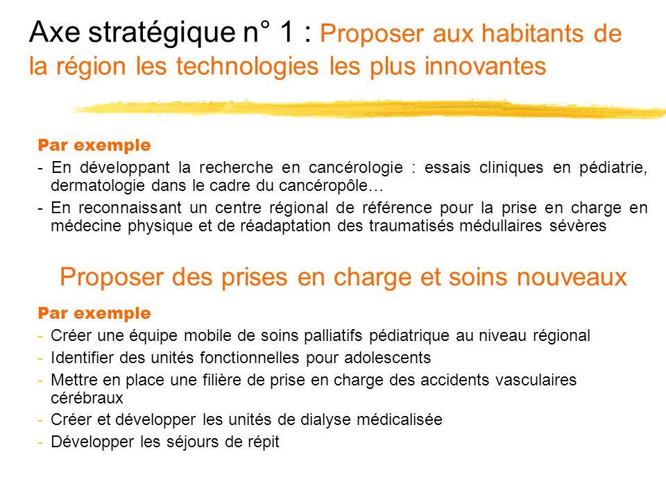 Axe stratégique n° 1 : Proposer aux habitants de la région les technologies les plus innovantes Par exemple - En développant la recherche en cancérolo