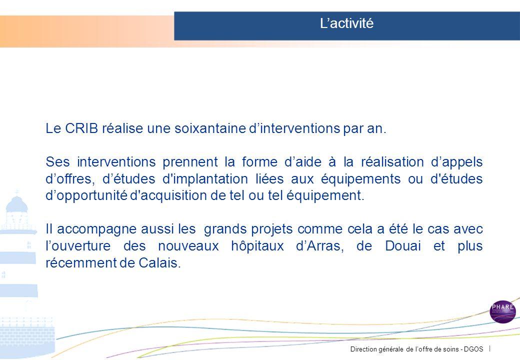 Direction générale de loffre de soins - DGOS | Le Centre Régional dIngénierie Biomédicale C.R.I.B Le C.R.I.B a été créé par convention passée en 1987 entre le CHRU de Lille et les Centres Hospitaliers de la Région régulièrement renouvelée.