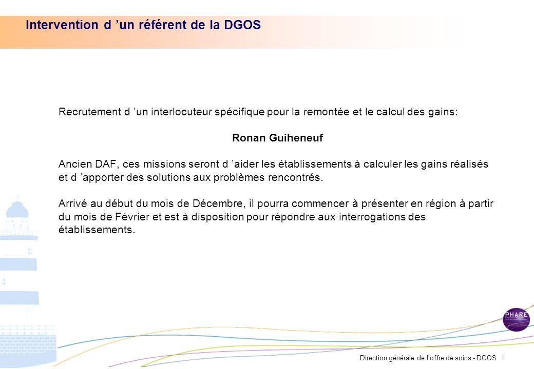 Direction générale de loffre de soins - DGOS | Quid des gains 2012 Remontée des gains 2012 Quels marchés ont été traités dans vos établissement.