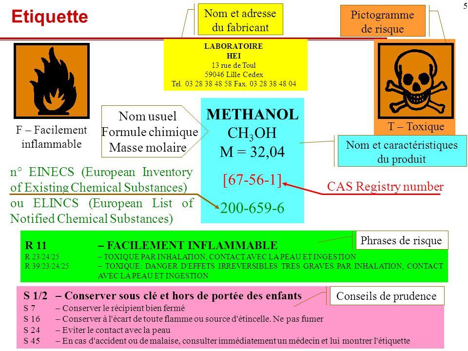 6 Fiche de données de sécurité (FDS) Elle est OBLIGATOIRE pour les produits chimiques dangereux Elle doit suivre un format en 16 rubriques, Être datée et rédigée en français (pour les produits mis sur le marché français) Information générale Rubrique Nom du produit et du fournisseur1 Composition chimique2 Propriétés physico-chimiques9 Dangers Rubrique Inflammabilité, explosivité, réactivité3, 9 et 10 Santé : toxicité3 et 11 Environnement : écotoxicité3 et 12 Elimination Rubrique Résidus/déchets, recyclage13 Utilisation Rubrique Utilisation recommandée et restrictions16 Manipulation et stockage7 et 15 Protection de lutilisateur8 Valeurs limites dexposition8 et 15 Limitations de mise sur le marché et demploi15 Situations durgence Rubrique Premiers secours4 Incendie5 Fuites/déversements6 Transport Rubrique Précautions et conseils14 Classes de danger transport14 Cest un document évolutif par nature : il est essentiel de sassurer que lon dispose toujours de lexemplaire le plus récent.
