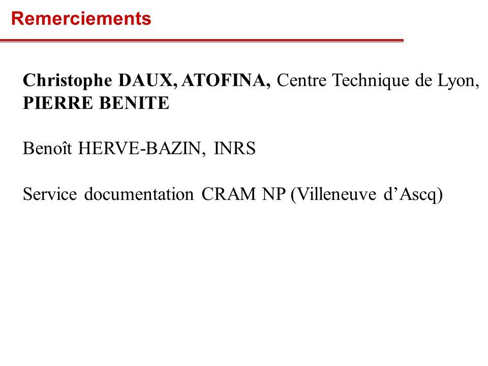 Christophe DAUX, ATOFINA, Centre Technique de Lyon, PIERRE BENITE Benoît HERVE-BAZIN, INRS Service documentation CRAM NP (Villeneuve dAscq) Remercieme