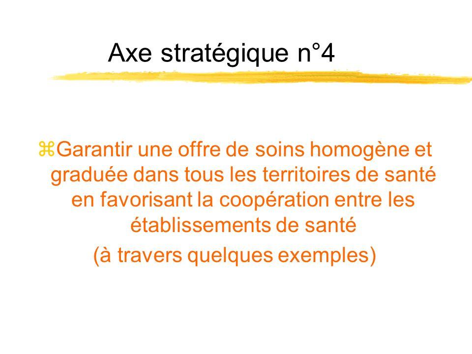 Axe stratégique n°4 zGarantir une offre de soins homogène et graduée dans tous les territoires de santé en favorisant la coopération entre les établis
