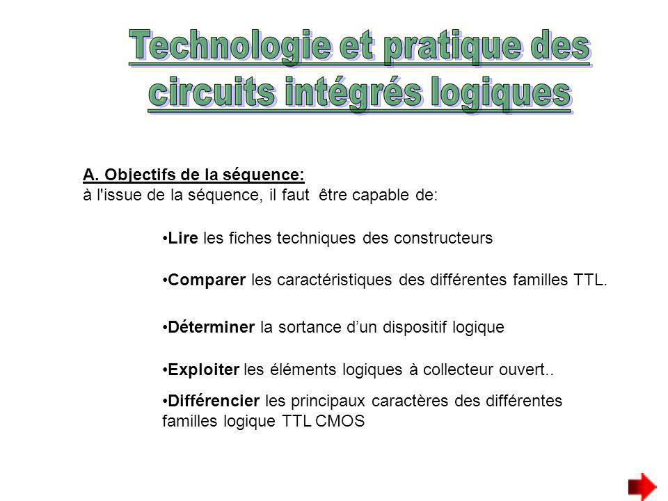 A. Objectifs de la séquence: à l'issue de la séquence, il faut être capable de: Lire les fiches techniques des constructeurs Comparer les caractéristi
