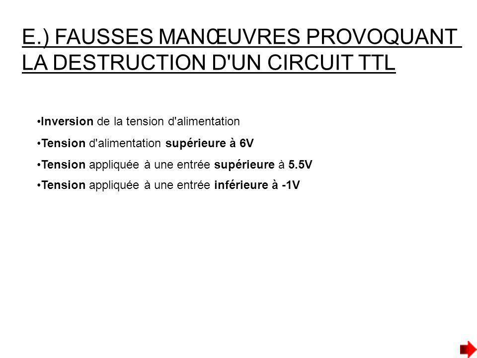 E.) FAUSSES MANŒUVRES PROVOQUANT LA DESTRUCTION D'UN CIRCUIT TTL Inversion de la tension d'alimentation Tension d'alimentation supérieure à 6V Tension