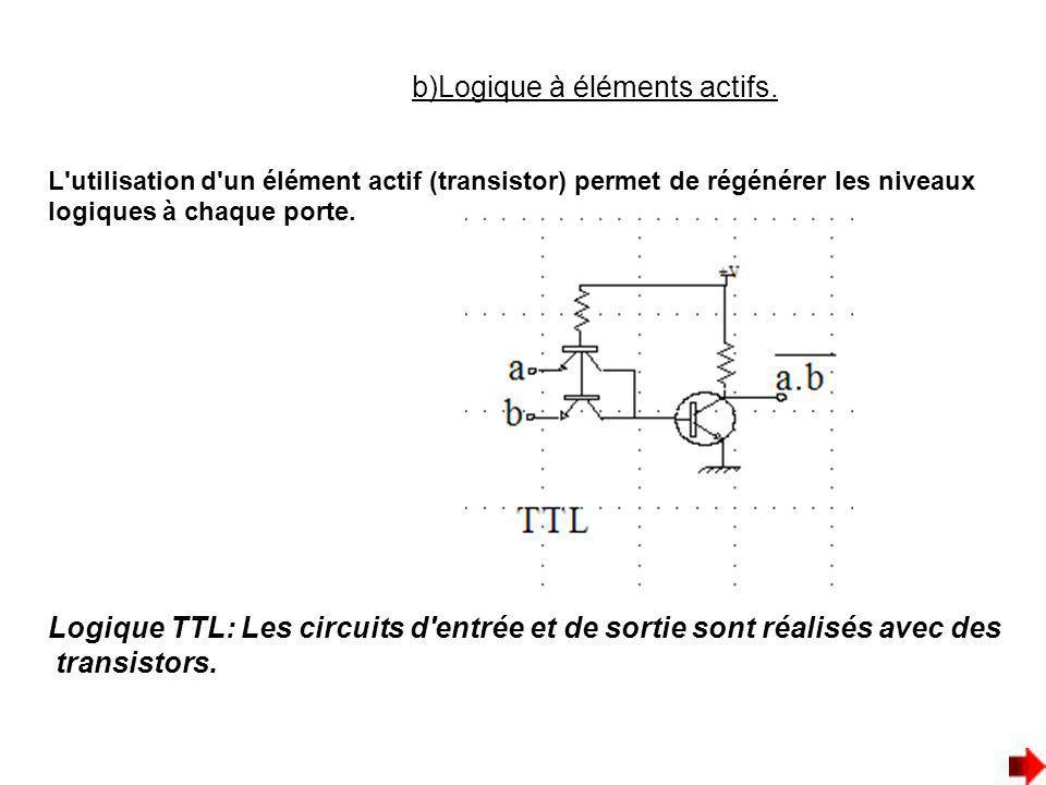 b)Logique à éléments actifs. L'utilisation d'un élément actif (transistor) permet de régénérer les niveaux logiques à chaque porte. Logique TTL: Les c