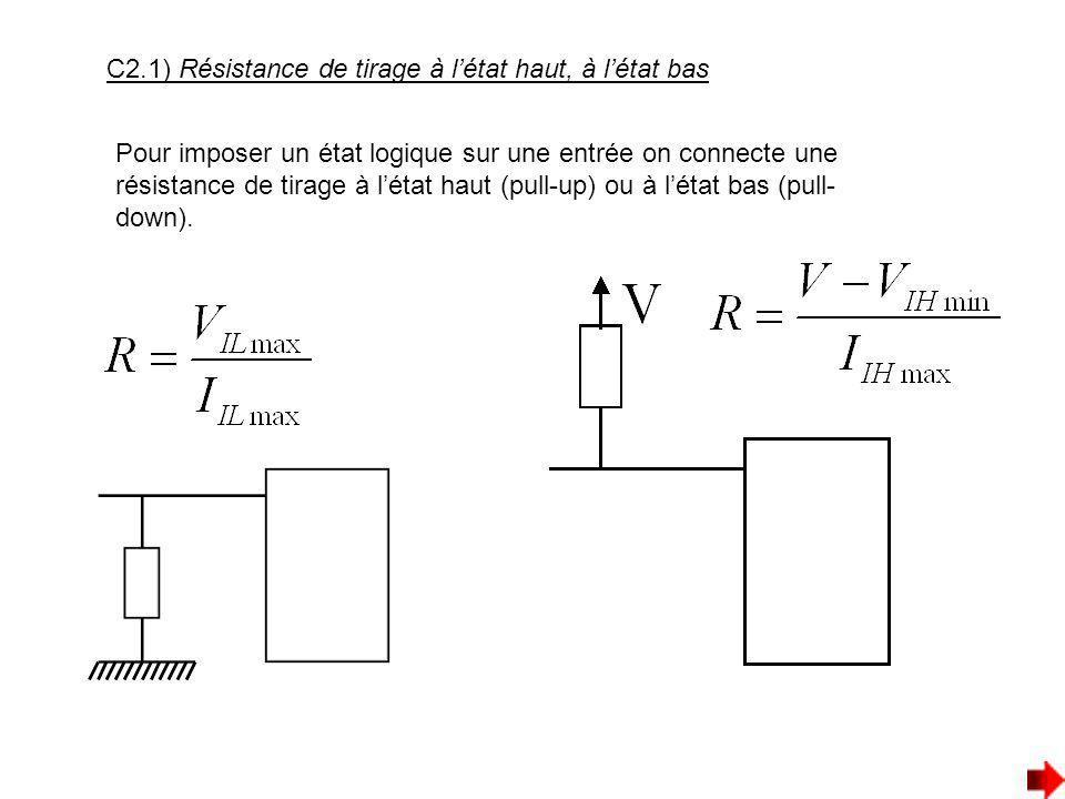 C2.1) Résistance de tirage à létat haut, à létat bas Pour imposer un état logique sur une entrée on connecte une résistance de tirage à létat haut (pu