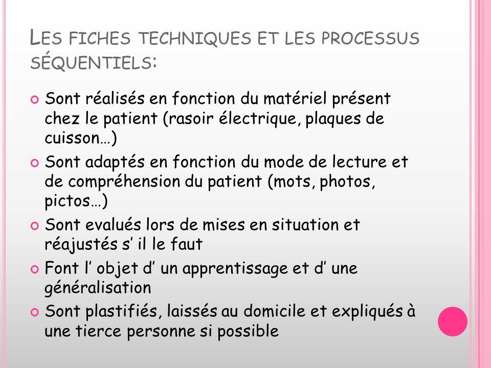 L ES FICHES TECHNIQUES ET LES PROCESSUS SÉQUENTIELS : Sont réalisés en fonction du matériel présent chez le patient (rasoir électrique, plaques de cui