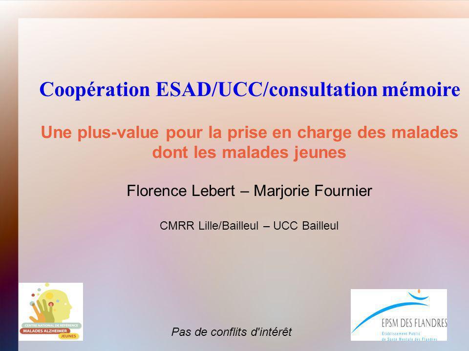 Coopération ESAD/UCC/consultation mémoire Une plus-value pour la prise en charge des malades dont les malades jeunes Florence Lebert – Marjorie Fourni