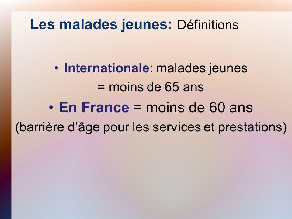 Les malades jeunes: Définitions Internationale: malades jeunes = moins de 65 ans En France = moins de 60 ans (barrière dâge pour les services et prest