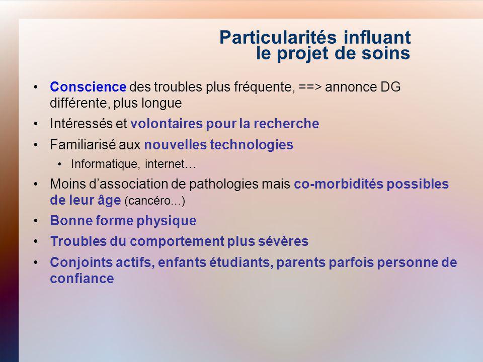 Particularités influant le projet de soins Conscience des troubles plus fréquente, ==> annonce DG différente, plus longue Intéressés et volontaires po
