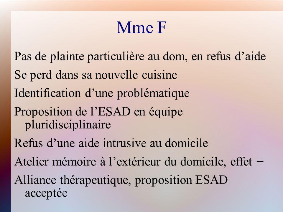 Mme F Pas de plainte particulière au dom, en refus daide Se perd dans sa nouvelle cuisine Identification dune problématique Proposition de lESAD en éq