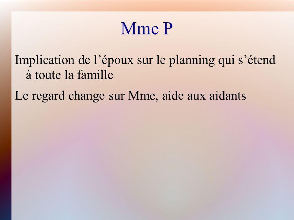 Mme P Implication de lépoux sur le planning qui sétend à toute la famille Le regard change sur Mme, aide aux aidants